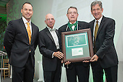 From left, Russ Eisenstein, Tom Davis, Criss Somerlot and Jim Schaus pose after Somerlot was inducted into the Kermit Blosser Ohio Athletics Hall of Fame during the 2016 Alumni Awards Gala at Ohio University's Baker Center Ballroom on Friday, October 07, 2016.