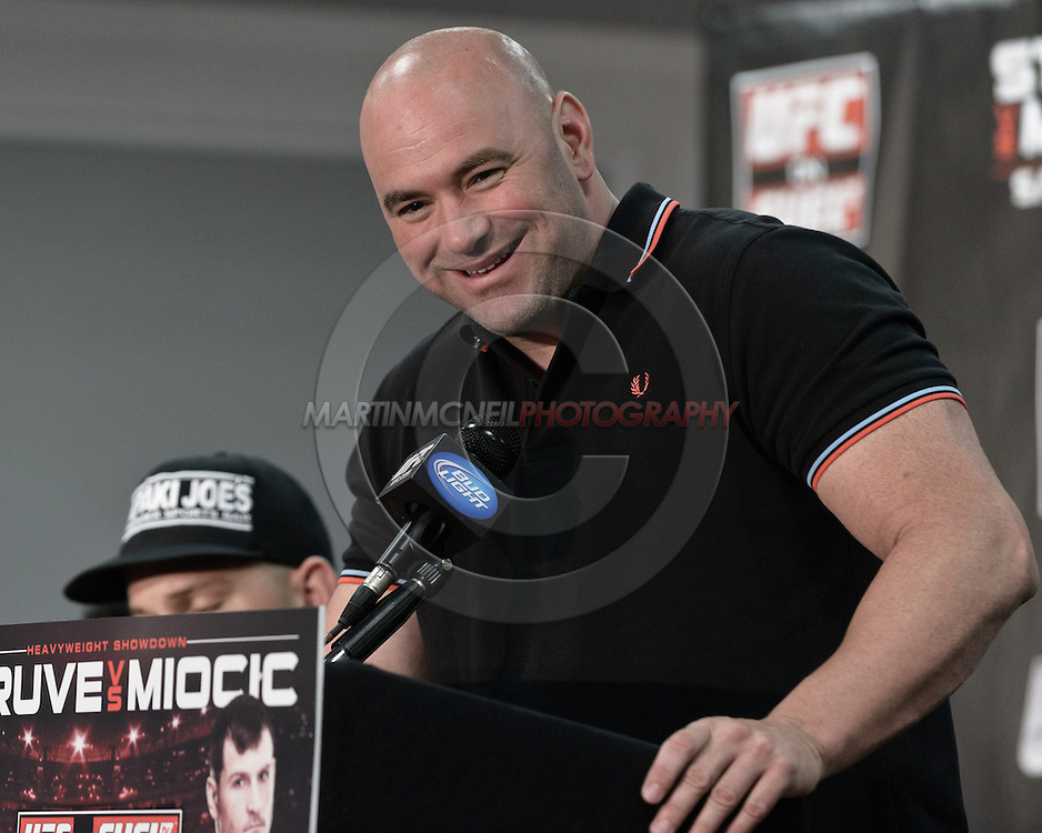 "NOTTINGHAM, ENGLAND, SEPTEMBER 27, 2012: UFC president Dana White is pictured during the pre-fight press conference for ""UFC on Fuel TV: Struve vs. Miocic"" inside the Hilton Hotel in Nottingham , United Kingdom on Thursday, Septermber 27, 2012"