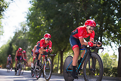 Cogeas-Mettler Cycling Team riders warm up for Stage 1 of the Madrid Challenge - a 12.6 km team time trial, starting and finishing in Boadille del Monte on September 15, 2018, in Madrid, Spain. (Photo by Balint Hamvas/Velofocus.com)