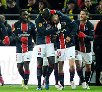 Fotball , 21. oktober 2010 , Europa League, Gruppenphase, <br /> Borussia Dortmund - Paris Saint-Germain 1:1<br /> <br /> <br /> Jubel 1:1 v.l. Peguy Luyindula, Mamadou Sakho, Clement Chantome, Jeremy Clement<br /> <br /> Norway only