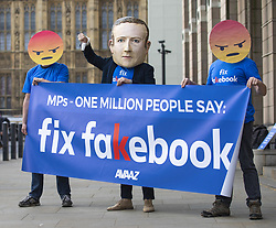April 26, 2018 - London, UK - Campaigners from Avaaz with a giant Mark Zuckerberg head protest outside Portcullis House to call on MPs to 'fix facebook'. Facebook's CTO Mike Schroepfer is appearing before a Select Committee. (Credit Image: © Rob Pinney/London News Pictures via ZUMA Wire)