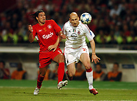 Milan Baros Liverpool/Jaap Stam AC Milan<br />