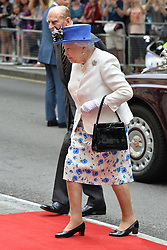© Licensed to London News Pictures. 19/07/2017. London, UK. HRH QUEEN ELIZABETH II and the DUKE OF EDINBURGH arrives at Canada House to celebrate Canada's 150th anniversary of Confederation. Photo credit: Ray Tang/LNP