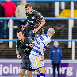 Darren Brownlie (5) of Queen of the South gets his head to the ball during the Ladbrokes Scottish Championship game between Greenock Morton and Queen of the South at Cappielow Park on 4th November 2017 in Greenock, Scotland.   (c) BERNIE CLARK | SportPix.org.uk