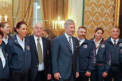 HRH Prince Philippe of Belgium receives the medalist from the Alltech FEI World Equestrian Games in Lexington  Kentucky 2010 at the Royal Palace in Brussels<br /> Also in the picture : Mr Jacky Buchmann, president of the Belgian Federation, Michelle George, Sury Baeck, Jan Boogaerts, Cira Baeck, Philippe Guerdat.<br /> © Dirk Caremans