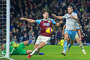 West Ham United forward Andy Carroll (9) has a chance on goal during the Premier League match between Burnley and West Ham United at Turf Moor, Burnley, England on 30 December 2018.