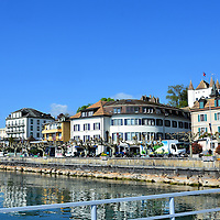 Historic Shoreline Promenade in Nyon, Switzerland <br />