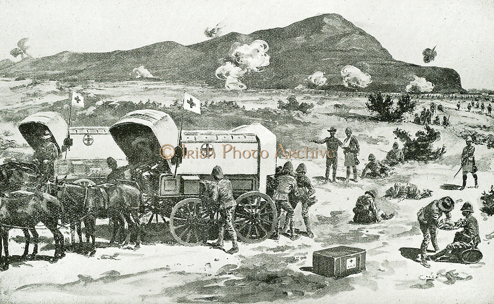 Medical Wagons carrying the Red Cross symbol at the battle of Magersfontein one of three major British defeats during Black Week (Boer War). Lord Methuen, with an army 10,000 strong, had left his camps on the Orange River on 11 November 1899 and begun a march north along the railway towards the besieged town of Kimberley