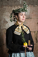 Anja of the Trachtenverein Spalt e.V. is wearing traditional bridal costume in Spalt, Middle Frankonia, Germany on February 17, 2018.<br /> <br /> She is wearing an original traditional catholic bridal dress and jewelry from around 1900. The bridal crown is a replica.