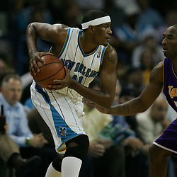 23 December 2008:  New Orleans Hornets forward James Posey (41) works against Los Angeles Lakers guard Kobe Bryant (24) during a 100-87 loss by the New Orleans Hornets to the Los Angeles Lakers at the New Orleans Arena in New Orleans, LA. .