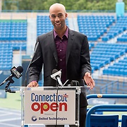 June 9, 2015, New Haven, CT:<br /> Former ATP World Tour star and Connecticut Open Legends Event Participant James Blake speaks during a press conference at the Connecticut Tennis Center to announce the new Connecticut Open 50/50 Project and the renewal of United Technologies sponsorship of the tournament through the 2017 in New Haven, Connecticut Tuesday, June 9, 2015.<br /> (Photos by Billie Weiss/Connecticut Open)