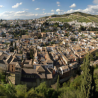 Aerial extreme wide angle view of ancient Albaicín arabic quarters of Granada, Andalusia, Spain.