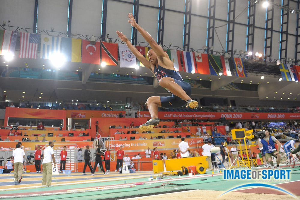 Mar 12, 2010; Doha, QATAR; Bryan Clay (USA) jumped 23-10 1/4 (7.27m) in the heptathlon long jump for 878 points in the IAAF World Indoor Championships in Athletics at the Aspire Dome.