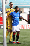 Rangers forward Jermain Defoe (9) in front of Hamilton Accademical goalkeeper Gary Woods (1) at a corner during the Ladbrokes Scottish Premiership match between Hamilton Academical FC and Rangers at New Douglas Park, Hamilton, Scotland on 24 February 2019.