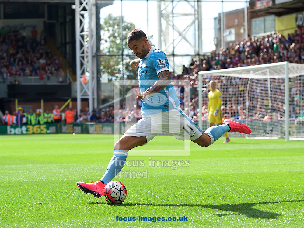 Aleksandar Kolarov of Manchester City during the Barclays Premier League match at Selhurst Park, London<br /> Picture by Alan Stanford/Focus Images Ltd +44 7915 056117<br /> 12/09/2015