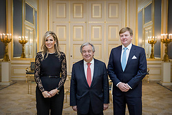 King Willem-Alexander and Queen Maxima of The Netherlands offer the Secretary-General of the United Nations Antonio Guterres, a dinner at Noordeinde Palace in The Hague, Netherlands, on Thursday December 21, 2017. Earlier in the day, Prime Minister Rutte offered Mr Guterres a lunch on behalf of the government at the Ministry of General Affairs. Guterres visits the Netherlands on Thursday 21 and Friday December 22. The occasion for his two-day visit is the closing ceremony of the International Criminal Tribunal for the former Yugoslavia (ICTY, The International Criminal Tribunal for the Yugoslavia). Photo by Robin Utrecht/ABACAPRESS.COM
