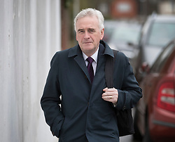 © Licensed to London News Pictures. 07/03/2017. London, UK. Shadow Chancellor John McDonnell rua bus leaves home on budget day.  Later Chancellor of the Exchequer Philip Hammond will deliver his 2017 Budget to Parliament. Photo credit: Peter Macdiarmid/LNP