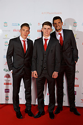 LIVERPOOL, ENGLAND - Tuesday, May 9, 2017: Liverpool's Harry Wilson, Ben Woodburn and Dejan Lovren arrive on the red carpet for the Liverpool FC Players' Awards 2017 at Anfield. (Pic by David Rawcliffe/Propaganda)