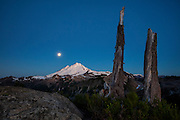 The full moon and two snags frame Mount Baker at dawn in the North Cascades of Washington state. Mount Baker, at 10,781 feet (3,286 meters), is the third tallest volcano in Washington and last erupted in 1880.