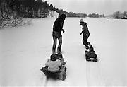 Pulka på isen i Mörtviken Ekensberg