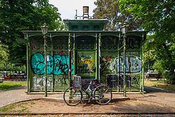 Old pavilion in Boxhagener Platz in Friedrichshain , Berlin, Germany