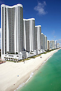 Aerial view looking north of Trump Towers, Sunny Isles Beach, Florida