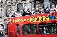 Dublin sightseeing tour bus in Ireland