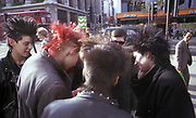 Group of young punks on King's Road, London, UK, 1980s.