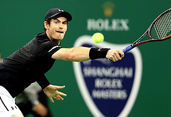 October 12, 2016 - Shanghai, China - Britain's ANDY MURRAY returns a shot during the second round singles match against Steve Johnson of the United States at the Shanghai Masters tennis tournament. Murray advanced. (Credit Image: © Fan Jun/Xinhua via ZUMA Wire)