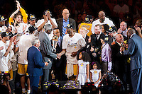 17 June 2010:  Guard Kobe Bryant of Los Angeles Lakers is presented the Bill Russell NBA Finals MVP Trophy by Bill Russell after the Lakers defeat the Boston Celtics 83-79 and win the NBA championship in Game 7 of the NBA Finals at the STAPLES Center in Los Angeles, CA.
