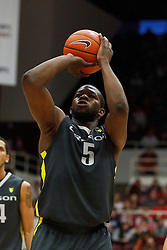 Feb 19, 2012; Stanford CA, USA; Oregon Ducks forward Olu Ashaolu (5) shoots a free throw against the Stanford Cardinal during the second half at Maples Pavilion. Oregon defeated Stanford 68-64. Mandatory Credit: Jason O. Watson-US PRESSWIRE