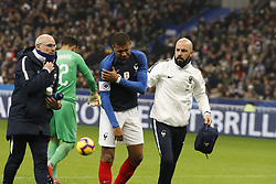 France's Kylian Mbappe is badly wounded in his right shoulder during France v Uruguay friendly football match at the Stade de France in Saint-Denis, suburb of Paris, France on November 20, 2018. France won 1-0. Photo by Henri Szwarc/ABACAPRESS.COM