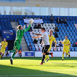 TELFORD COPYRIGHT MIKE SHERIDAN Aaron Williams of Telford battles for a header during the National League North fixture between AFC Telford United and Nantwich Town on Saturday, September 21, 2019.<br /> <br /> Picture credit: Mike Sheridan<br /> <br /> MS201920-020