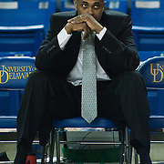 02/01/12 Newark DE: George Mason Head Coach Paul Hewitt intensely watches the Delaware men's warm up prior to a Colonial Athletic Association conference Basketball Game against Delaware Wed, Feb. 1, 2012 at the Bob Carpenter Center in Newark Delaware.<br />