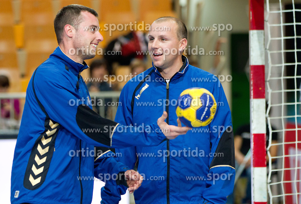 Jure Vran and Goraz Skof of Cimos Koper during handball match between RK Cimos Koper (SLO) and Sankt Petersburg HC (RUS) of 6th Round of EHF Champions League 2011/12, on November 26, 2011, in Arena Bonifika, Koper, Slovenia. (Photo by Vid Ponikvar / Sportida.com)