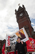 Derek Simpson speaking at Corus Save Our Steel March Redcar..© Martin Jenkinson, tel 0114 258 6808 mobile 07831 189363 email martin@pressphotos.co.uk. Copyright Designs & Patents Act 1988, moral rights asserted credit required. No part of this photo to be stored, reproduced, manipulated or transmitted to third parties by any means without prior written permission.