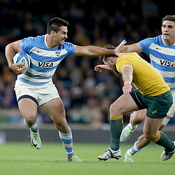 Jeronimo de la Fuente of Argentina goes past Bernard Foley of Australia during the The Rugby Championship match between Argentina and Australia at Twickenham Stadium, Twickenham - 08/10/2016<br /> ©Matthew Impey / Wired Photos<br /> Picture by Matt Impey +44 7789 130347