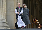© Licensed to London News Pictures. 04/02/2013. City of London, UK Justin Welby, stands on the steps of St Pauls Cathedral with his wife, Jane Gillian, in London for the first time as the Archbishop of Canterbury, He takes the title today, 4th February 2013, following formal election by the College of Canons on January 10, Bishop of Durham Justin Welby becomes Archbishop of Canterbury, a title conferred upon him by the Archbishop of York on behalf of his fellow bishops and the wider Church.. Photo credit : Stephen Simpson/LNP