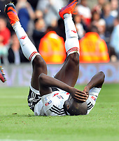 Football - 2016 /2017 Championship - Fulham vs Queens Park Rangers<br /> <br /> Sone Aluko of Fulham agonises after missing his injury time penalty kick which would have levelled the scoring at 2 -2 at Craven Cottage<br /> <br /> Credit : Colorsport / Andrew Cowie