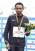 Mosinet Geremew (ETH) poses after placing third in 2:06.12 in the 44th Berlin Marathon in Berlin, Germany on Sunday, September 24, 2017. (Jiro Mochizuki/Image of Sport)