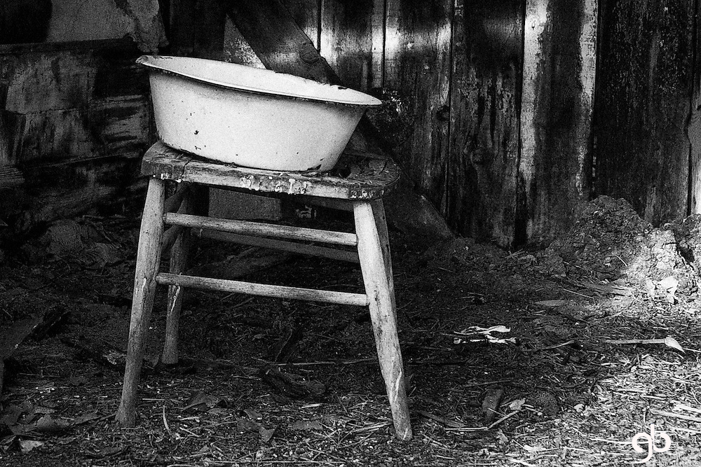 There was this old calving shed with a cool water basin on an old chair.