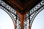 Detail of the framework, Eiffel Tower, March 31, 1889 (Universal Exhibition in celebration of the French Revolution), Alexandre Gustave Eiffel (1832-1923), 324 meters high, 10,100 tons, 18,038 pieces, 2,500,000 rivets, 1665 steps, Paris, France Picture by Manuel Cohen