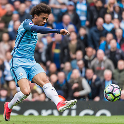 Manchester City midfielder Leroy Sane (19) gets in a shot on goal in the English Premier League match between Manchester City and Crystal Palace<br /> (c) John Baguley | SportPix.org.uk