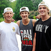 "John Stephen Grice, left to right, Baylor Barnes and Cole LaBrant pose for a photo after an interview in Troy, Ala., Wednesday, July 31, 2013. The trio makes up the group ""Dem White Boyz,"" which has gained wide popularity on the social networking site ""Vine"". (Photo/Thomas Graning)"