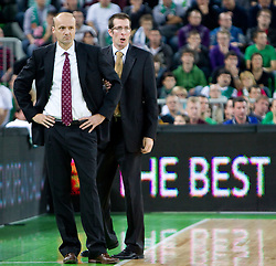 Head coach of Olimpija Jure Zdovc and assistant coach Jaka Daneu  during basketball match between KK Union Olimpija (SLO) and Panathinaikos (GRE) in Group D of Turkish Airlines Euroleague, on November 4, 2010 in Arena Stozice, Ljubljana, Slovenia. Union Olimpija defeated Panathinaikos 85-84. (Photo By Vid Ponikvar / Sportida.com)