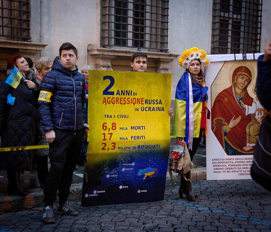 Ucraini manifestano a Roma contro la guerra.<br /> <br /> Ukrainians demonstrate in Rome against the war.