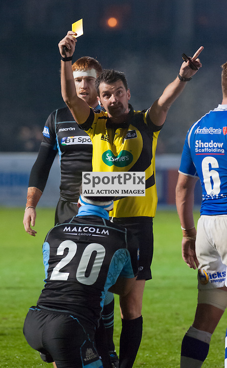 #20 Simone Favaro (Glasgow Warriors) receives a yellow card from referee Gary Conway (IRFU)