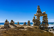 Rock cairns at Squibnocket Beach, Martha's Vineyard, Massachusetts,  USA.