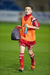 RHYL, WALES - Tuesday, March 18, 2014: Wales' Alwyn Flynn warms-up before the Under-15's International Friendly match against Poland at Belle Vue. (Pic by David Rawcliffe/Propaganda)