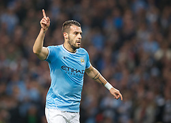 MANCHESTER, ENGLAND - Wednesday, October 2, 2013: Manchester City's Alvaro Negredo celebrates scoring the first goal against Bayern Munich during the UEFA Champions League Group D match at the City of Manchester Stadium. (Pic by David Rawcliffe/Propaganda)